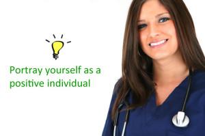 Confident nurse in an interview